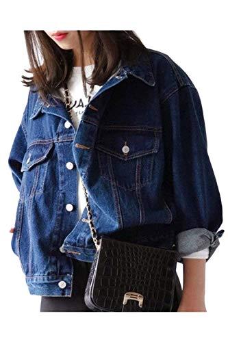 Giovane Autunno Fidanzato Giacca Primaverile Maniche Eleganti Lunghe Cappotto Stile Blu Bavero Donna Ragazze Tempo Tendenza Blau Libero Jeans Moda c6tWBO