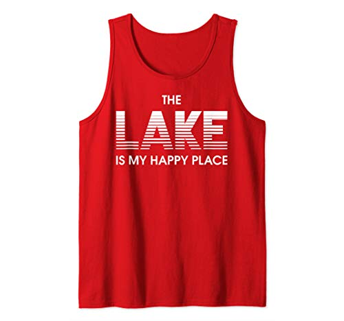 Lake is My Happy Place Tahoe Powell Minnesota Pontoon Boat Tank Top ()