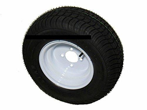2-pack 205/65-10 20.5x8.0-10 LRE Kenda Loadstar Bias Trailer Tires on 4 Lug White Wheels (Tires Kenda Trailer)