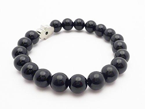 Fine Jewelry 4 Me Shiny Black Bead Bracelet with Silver and Black Hamsa by Fine Jewelry 4 Me (Image #1)