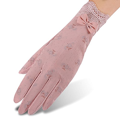 Nurbijar Women Stretch Breathable Lace Gloves Anti-slip Full Palm Touch Screen UV Protection Driving Gloves-Pink Color (Driving Stretch Gloves)