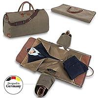 Snugs Weekender Canvas, borsa da viaggio in pelle con sacco viaggio integrato, per completi e vestiti senza pieghe