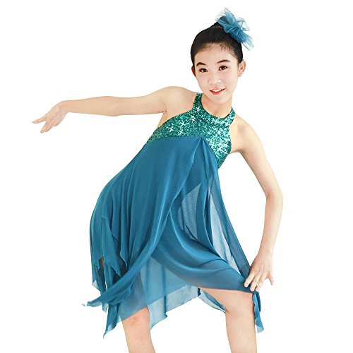 Pictures Of Lyrical Dance Costumes (MiDee Lyrical Costume Athletic Dance Dresses Halter Neck 2 Layers A-Line Dress for Girls (PA, Turquoise))