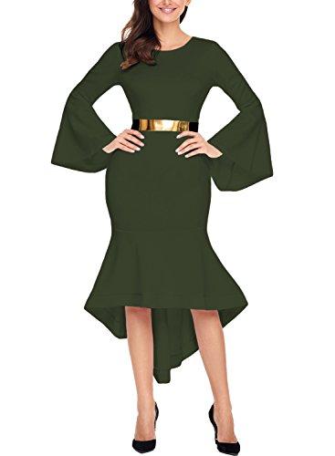 Jual Sidefeel Women Bell Sleeve Mermaid Bodycon Midi Dress with Belt ... 29738d3b0
