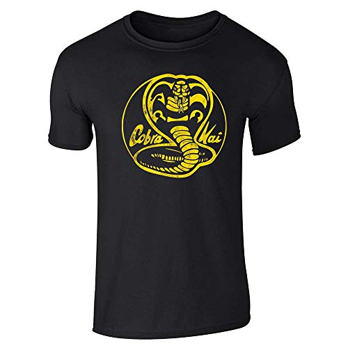 Cobra Kai Dojo Distressed Logo Retro Martial Arts Black L Short Sleeve -