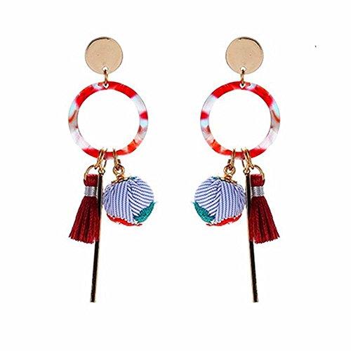 Fashion Vintage Bohemian Tassel Drop Earrings,National Wind Creative Embroidered Cloth Boho Dangle Tassel Ball Earrings For Women Girls