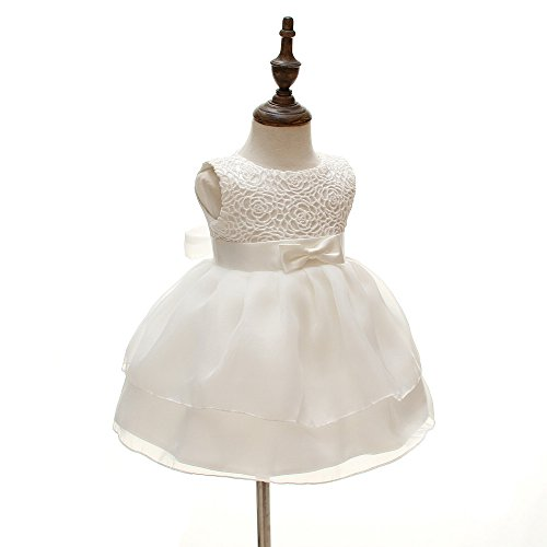 Baby Girls Dresses Christening Wedding Pageant Bow Formal Dress Ivory white (3M/0-6months) by Meiqiduo (Image #1)