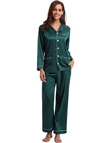 Aibrou Women's Satin Pajamas Set Long Sleeve and Long Button-Down Sleepwear - Silk Green