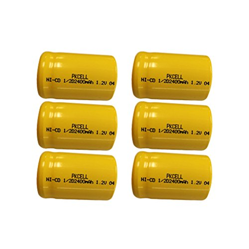 1/2 C size 1/2 D size Rechargeable NI-MH Btteries 1.2v Count (6PC*1/2D 2400mAH)) by PK Cell