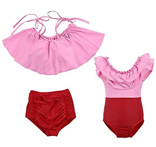 Bottoms Baby Adult (Mother Daughter Swimsuit Two Piece Off Shoulder Ruffled Flounce Crop Bikini Top High Waist Bottoms (90(1-2T), Baby))