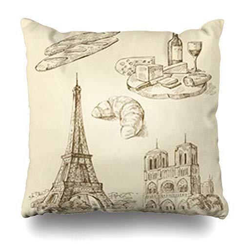 NOWCustom Throw Pillow Cover Square Size 18 x 18 Inches Old Set France Abstract Wine French Vintage Paris Zippered Pillowcase Home Decor Cushion Case