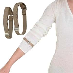 Light Khaki Elastic Adjustable Armbands / Shirt Garters / Sleeve Hold Ups - Unisex