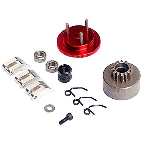 TOOGOO(R) Flywheel 14T Gear 3 Clutch Shoes Spring Cone Engine Nut Bearing Clutch Set Engine Motor Component For 1/8 RC Car Nitro HSP- Silver (Clutch Shoe Spring Set)