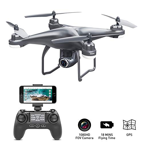 GPS Drone with Camera Live Video 1080P HD FPV RC Quadcopter Drones with Camera Follow Me Mode, Altitude Hold, Long Range Control, GPS Auto Return Home – BEEYEO Dark Grey