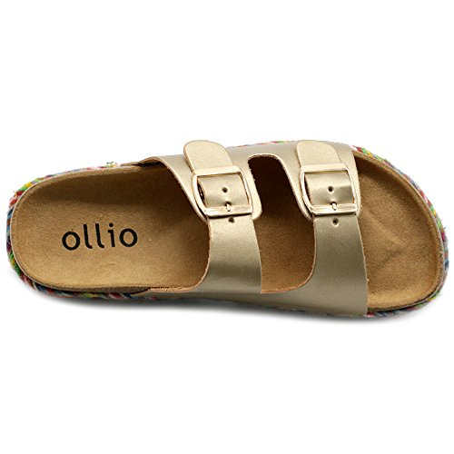 Boho Espadrilles Cork Slip Sandals Women's Ollio Platform Strap Two Shoe Gold On wpIqgW8zq