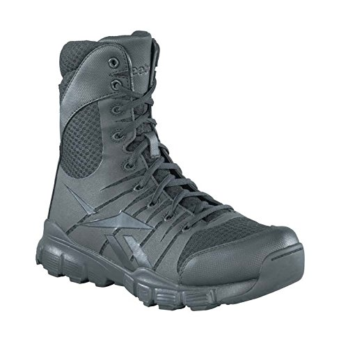 TALLA 7. Reebok de Hombre Dauntless 8-Inch sin Costuras Laterales con Cremallera Boots-Black, tamaño 7