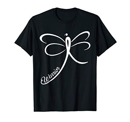 Lung Cancer Awareness Warrior T-Shirt Dragonfly White ()