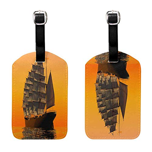 Luggage Suitcase Tags Sailing boat in the sunset, yellow (2) Leather Strap - Set of 2
