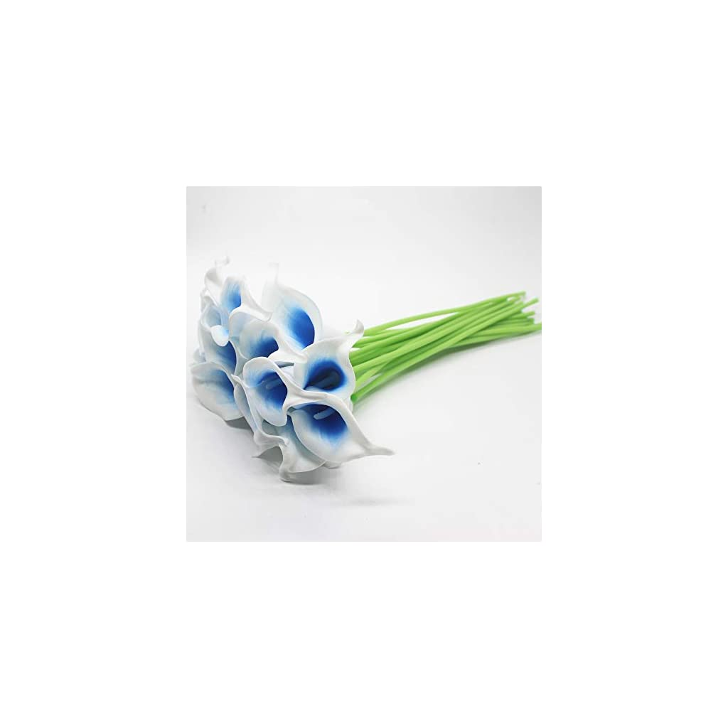 Mini 15″ Artificial Calla Lily 10 Stem Bridal Bouquets Artificial Latex Real Touch Flowers for Home Party Decor (White Blue)
