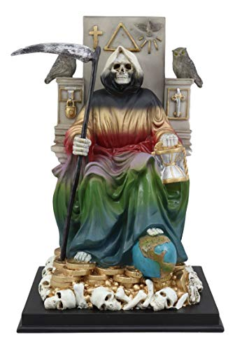 Ebros 7 Colors Rainbow Robe Santa Muerte Holy Sacred Death Bone Mother Seated On Throne with Scythe Statue Patron of Protection & Blessings Seven Powers Figurine Day of The Dead Decorative Sculpture