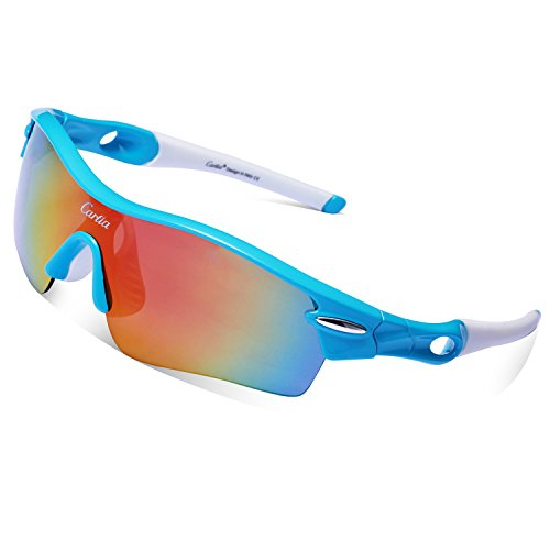 Cycling Sunglasses-Carfia TR90 Sports Sunglasses UV400 Protection Goggles Polarized Sunglasses with 5 Interchangeable Lenses for Ski Running Cycling Fishing - Sports Prescription Sunglasses Cycling