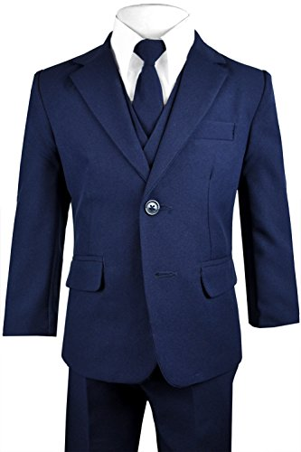 Black n Bianco Big Boys Solid Suit and Tie (12, A Navy)