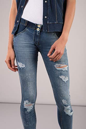 Lunghezza Stampa Regular In Freddy Paisley Blu Gialle up® E Scuro jeans Denim Vita Skinny J0y Wr Distressed Pantalone cuciture B8RBYP