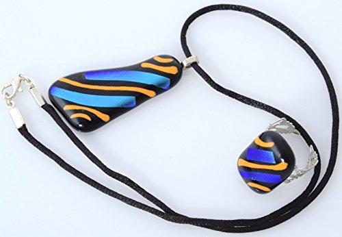 Handmade Millet Glass Designs Fused Glass Pendant Necklace Ring Set Unique Artistic (Handmade Fused Glass Pendant)