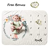 Baby First Year Monthly Milestone Blanket Premium Fleece Photo Props with Floral Wreath