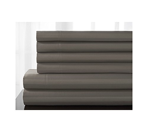 Elite Home Products Delray Stripe 600-Thread Count Cotton Rich 6-pc. Sheet Sets Titanium King Sheet Set Delray Stripe
