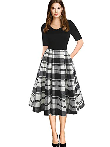 oxiuly Women's Vintage Plaid Patchwork Cotton Stretchy V-Neck Casual Pockets Party Work A-Line Dress OX295 (XL, BK-Plaid PT)