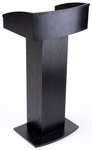 Displays2go Floor Standing Pulpit with Wood Grain Style, Pedestal Base, Black (LCTENCBK) by Displays2go