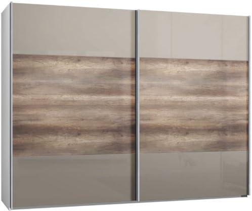 Armario de puertas correderas, puerta corredera, 2trg., aprox 300 cm, vidrio Sahara gris, doble vínculo en madera de roble, armario: Amazon.es: Hogar
