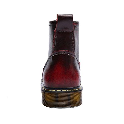 Bottines Bottes Hiver B Lacets Imperméable En Chaussures rouge Tqgold Cuir Fourrées Homme À Boots aqFwtx