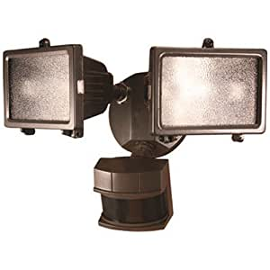 Heath Zenith HZ-5512-BZ 300-watt Quartz Halogen Motion-Sensing Twin Security Light, Bronze