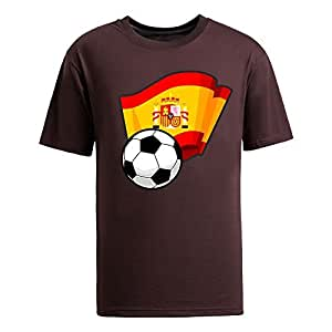 MEIMEICustom Mens Cotton Short Sleeve Round Neck T-shirt,2014 Brazil FIFA World Cup Soccer Flags brownMEIMEI