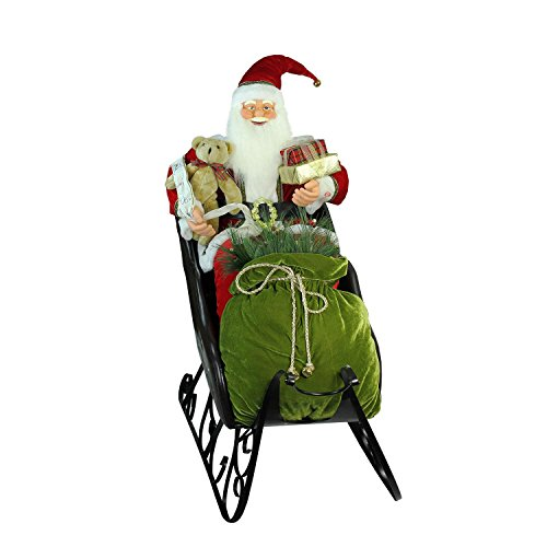 Northlight 4' Deluxe Animated Musical Santa Claus in Jeweled Sleigh Christmas Decoration