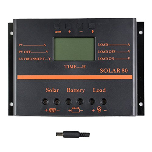 Y&H 80A Solar Controller 12V 24V LCD 5V USB Charger for Mobile Phone,PV Panel Battery Charge Controller Solar System Home Indoor Use for Lead-Acid Batteries