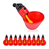 VC-Time 10 Pack of Automatic Chicken Waterer Cups with 1/2 inch PVC Mounting Hardware Poultry Watering Cups Drinkers