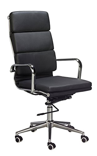 Eames Replica High Back Office Chair - BLACK Vegan Leather, thick high density foam, stabilizing bar swivel & deluxe tilting mechanism by US Office Elements