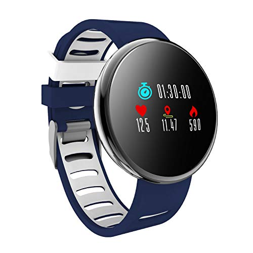 Heart Rate Pro Watch Monitor (YoYoFit Smart Fitness Watch with Heart Rate Monitor, Waterproof Fitness Activity Tracker Step Counter with Music Player Control, Customized Face Look GPS Pedometer Watch for Women Men (BL+RD))