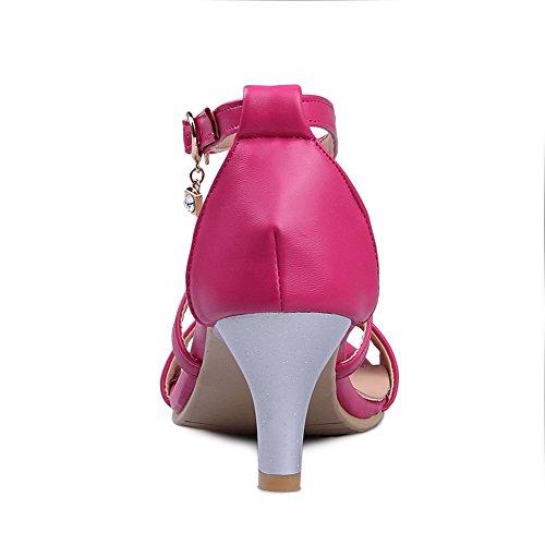 VogueZone009 Sandales Souple d'orteil Matière Ouverture Rouge de Pastèque Boucle Femme rqYpwar