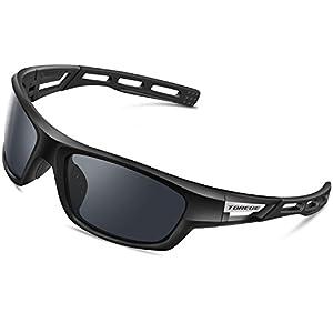 TOREGE Polarized Sports Sunglasses for Men Women Cycling Running Driving Fishing Golf Baseball Glasses EMS-TR90 Unbreakable Frame TR007 (Black frame&Grey lens)