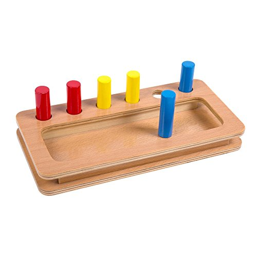Montessori Materials Colored cylinder and base Toddler Preschool Toy ()