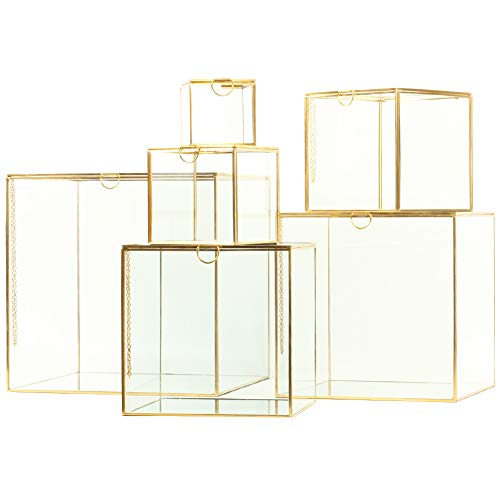 Koyal Wholesale Glass Museum Display Cases, Gold Cube Boxes, Set of 6 Mirrored Showcase Display Containers with Mirror Bottom, Gallery Modern Home Décor Furniture, Modern Wedding Aisle Pedestal Decor ()
