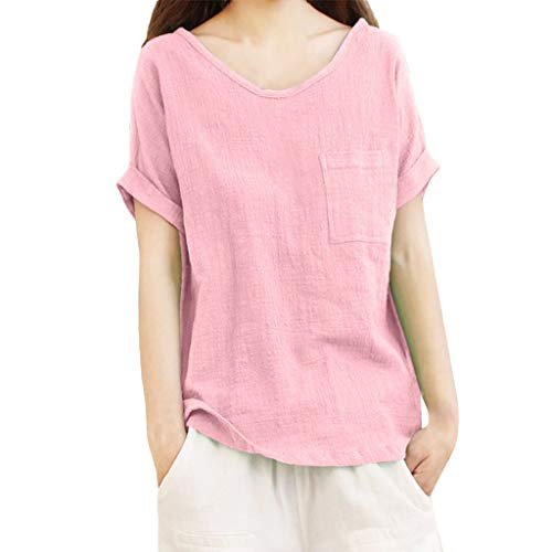 Sheer Sleeve Ringer Tee Short (JESPER Women Ladies Short Sleeve Ringer Tee Pocket Cotton and Linen T-Shirts Top Blouse Pink)