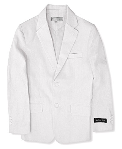 Boys' Cotton/Linen Blend Blazer Jacket #JL38 (8, White)
