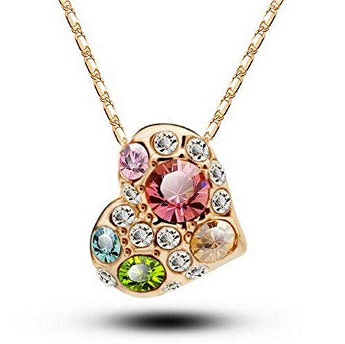 [Yuntun Crystal Diamond Peach Heart-shaped Necklace New Colorful Jewelry(Gold)] (Do It Yourself Costumes 2016)