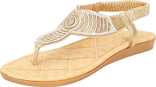 Cambridge Select Women's T-Strap Thong Crystal Rhinestone Glitter Stretch Slingback Flat Sandal (9 B(M) US, - Metallic Sandals Jewel
