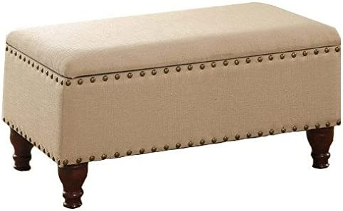 Storage Bench Ottoman with Nailhead Trim and Decorative Turned Wooden Legs Beautiful Piece for Your Bedroom entryway livingroom Vanilla Beige